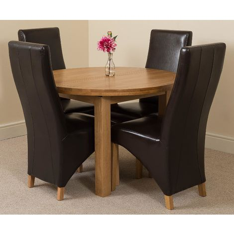 Edmonton Solid Oak Extending Oval Dining Table With 4 Lola Dining Chairs [Black Leather]