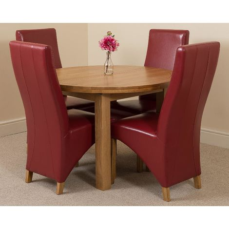 Edmonton Solid Oak Extending Oval Dining Table With 4 Lola Dining Chairs [Burgundy Leather]