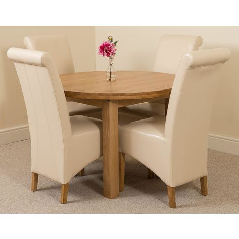 Edmonton Solid Oak Extending Oval Dining Table With 4 Montana Dining Chairs [Ivory Leather]