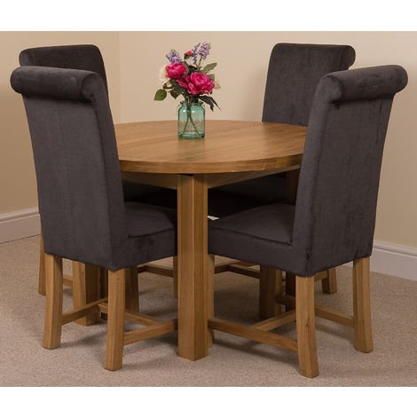 Edmonton Solid Oak Extending Oval Dining Table with 4 Washington Dining Chairs [Black Fabric]