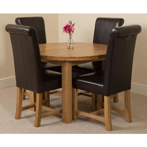 Edmonton Solid Oak Extending Oval Dining Table With 4 Washington Dining Chairs [Brown Leather]