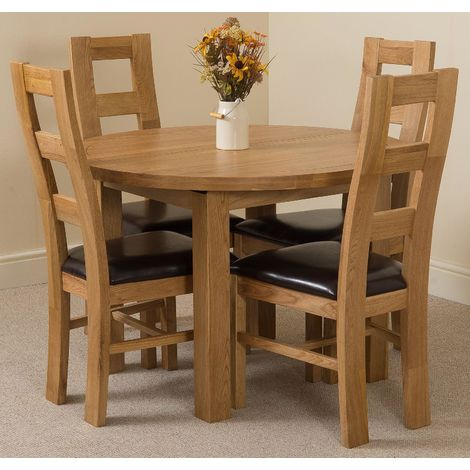 Edmonton Solid Oak Extending Oval Dining Table With 4 Yale Solid Oak Dining Chairs [Light Oak and Brown Leather]