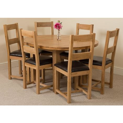 Edmonton Solid Oak Extending Oval Dining Table With 6 Lincoln Solid Oak Dining Chairs [Light Oak and Brown Leather]