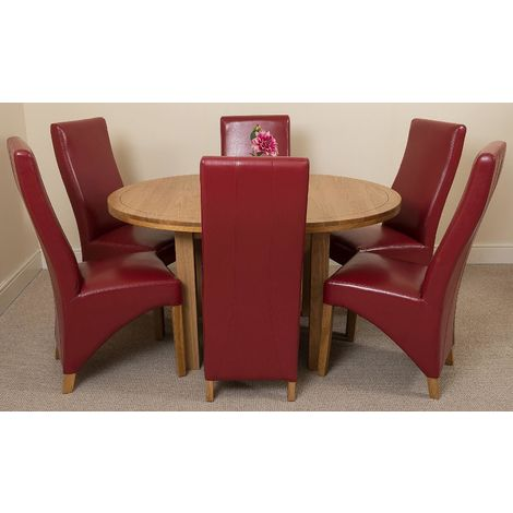 Edmonton Solid Oak Extending Oval Dining Table With 6 Lola Dining Chairs [Burgundy Leather]