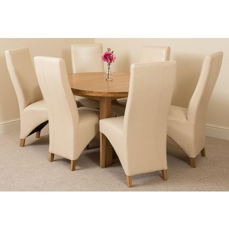 Edmonton Solid Oak Extending Oval Dining Table With 6 Lola Dining Chairs [Ivory Leather]