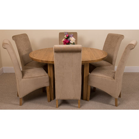 Edmonton Solid Oak Extending Oval Dining Table with 6 Montana Dining Chairs [Beige Fabric]