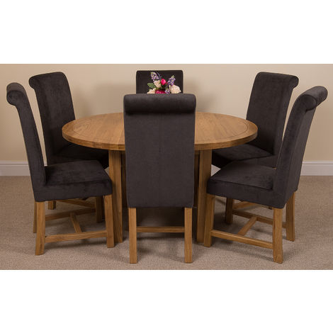 Edmonton Solid Oak Extending Oval Dining Table with 6 Washington Dining Chairs [Black Fabric]