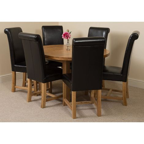 Edmonton Solid Oak Extending Oval Dining Table With 6 Washington Dining Chairs [Black Leather]