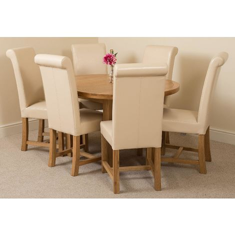 Edmonton Solid Oak Extending Oval Dining Table With 6 Washington Dining Chairs [Ivory Leather]