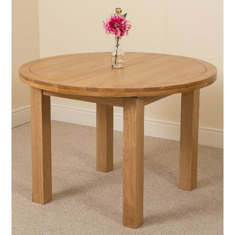 Edmonton Solid Oak Extending Round Dining Table