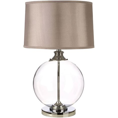 Edna Small Table Lamp, Clear Glass Ball / Chrome, Silver Silk Shade / EU Plug