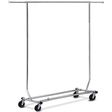 Edstahlstahl Kleiderständer auf Rollen 113 kg Stabiler Kleiderstange Wäscheständer höhenverstellbar zusammenklappbar