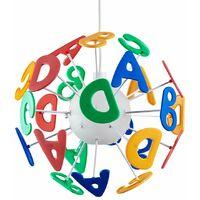 & Educational Round Children's Bedroom Nursery ABC Alphabet Letters Colourful Burst Ceiling Lamp Pendant Light Shade