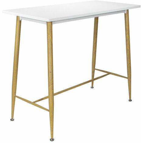 EDWARD Table scandinave avec plateau blanc laqué