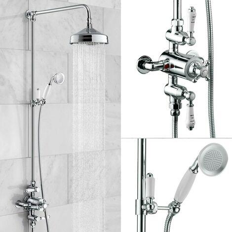 Edwardian Dual Traditional Thermostatic Shower Mixer + Rigid Riser + Diverter