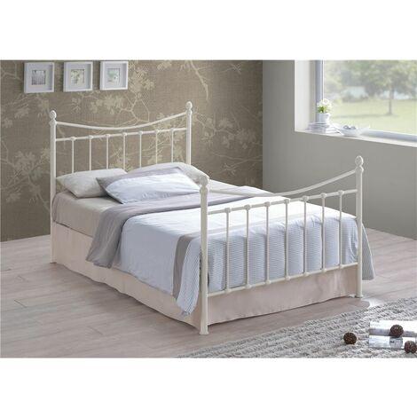 Edwardian Style Ivory Metal Bed Frame - King Size 5ft