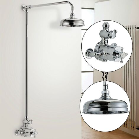 """Edwardian Traditional Thermostatic Shower Mixer + Rigid Riser + 8"""" Victoria Rose"""