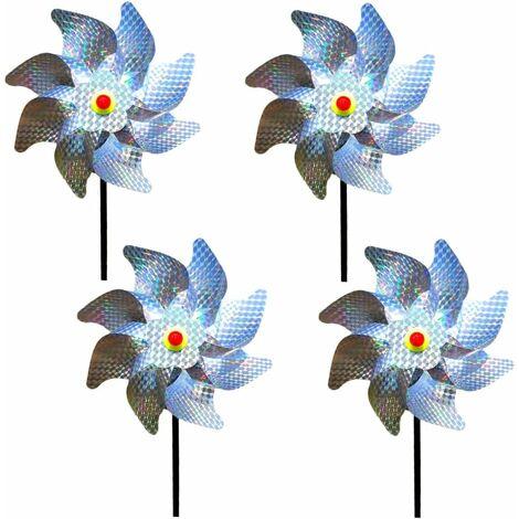 Effaroucheur Oiseaux Decoration Jardin Pic Anti Pigeon Dissuasion Anti-Oiseaux réfléchissant pour Moulin à Vent Réfléchissant pour Protéger Le Jardin, Verger et Cour Intérieure (Lot de 4)