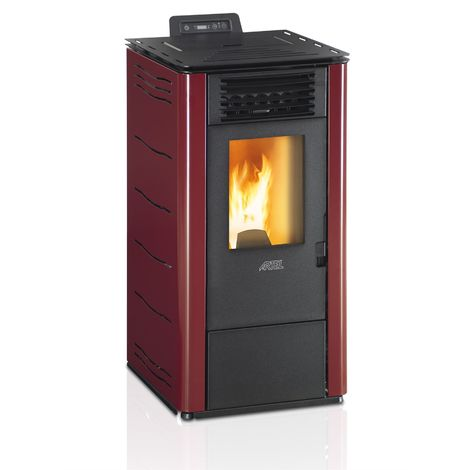 Efficient powerful eco heating pellet boiler heater 6,97kw power bordeaux color