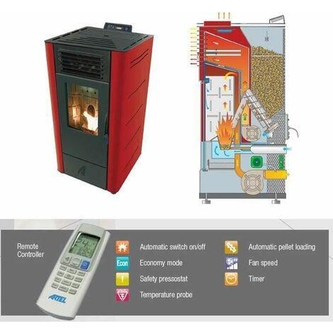 Efficient Powerful Eco Heating Pellet Boiler Heater 6,97kW Power Bordeaux Color