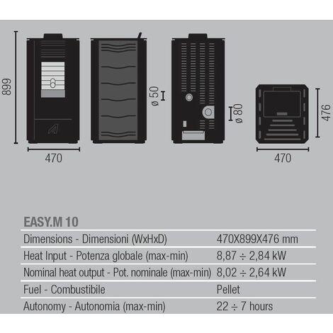Efficient Powerful Eco Heating Pellet Boiler Heater 8,87kW Power Black Color
