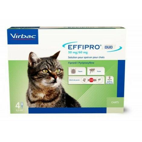 Effipro Duo soin antiparasitaire pour chats Boîte de 4 Pipettes