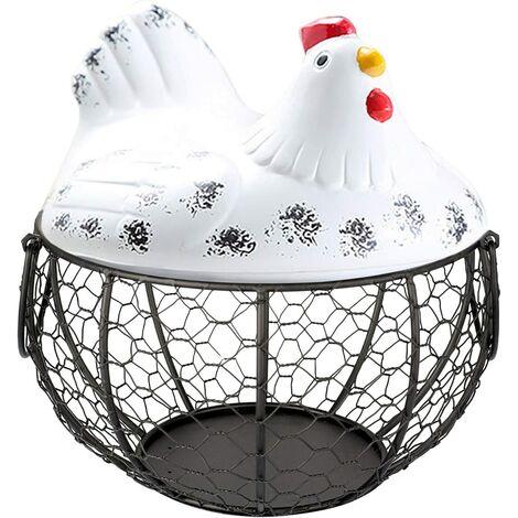 Egg Basket, Chicken Holder Shape Metal Fruit Basket, Iron Egg Basket, Table Snacks Storage Kitchen Organizer, Vintage Collecting Basket, With Handle (MT04)