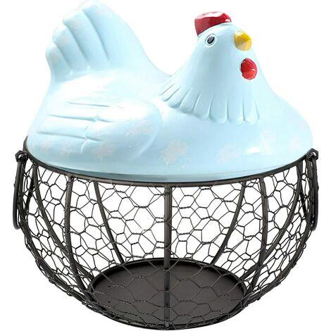 Egg Basket Chicken Holder Shape Metal Wire Fruit Basket, Iron Egg Basket, Table Snacks Storage Kitchen Organizer, Vintage Collection Basket, With Handle (MT02)