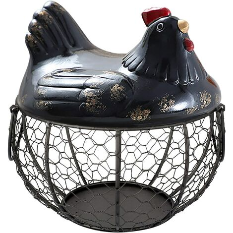 Egg Basket Chicken Holder Shaped Metal Wire Fruit Basket, Iron Egg Basket, Table Snacks Storage Kitchen Organizer, Vintage Collecting Basket, With Handle (MT01)
