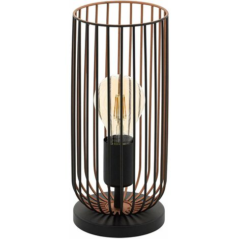 EGLO 49646 Lampe de table Acier, E27, 60 W, Schwarz, Kupfer