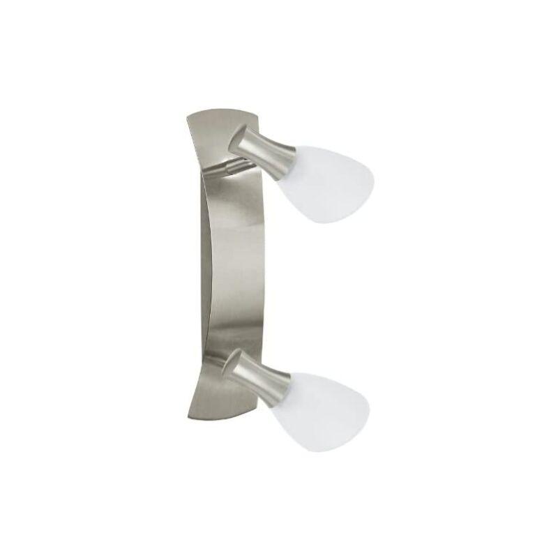 87358 - Plafoniera/applique in acciaio nichelato opaco e vetro acidato - Eglo