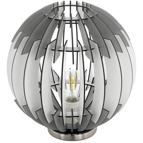 EGLO 96975 Olmero Single Table Lamp Steel/Satin Nickel/Wood/Grey/White
