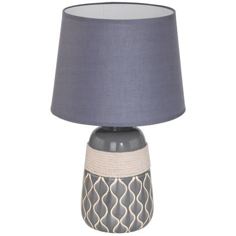 EGLO Bellariva Beige Ceramic Modern Table Lamp With Grey Drum Shade Any Room