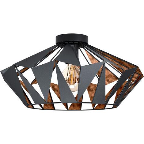 "main image of ""EGLO CARLTON 6 Geometric black and copper flush ceiling light"""