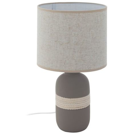 EGLO Contemporary Ceramic Grey Table Lamp , Beige Round Lampshades Lounge Bedroom