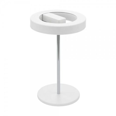 EGLO Dimmable Led Desk Table Lamp Chrome Base & White/ Plastic Lamp Shade Round