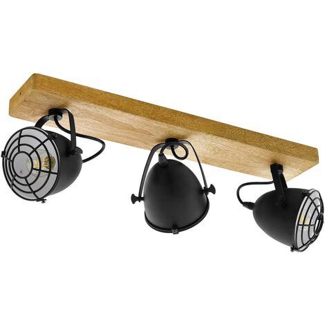 EGLO Focos Gatebeck 3 bombillas acero y madera negro