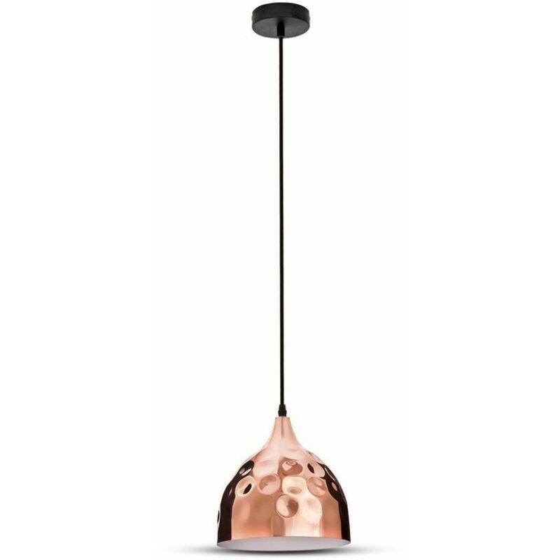 Lampadario LED a Goccia in Metallo con Portalampada E27 (Max 60W) Colore Oro Rosa a Specchio Ø230mm - V-tac