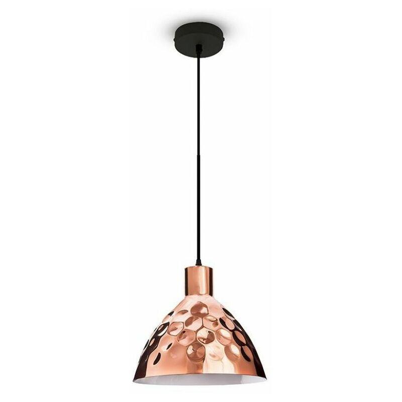 Lampadario LED a Cono in Metallo con Portalampada E27 (Max 60W) Colore Oro Rosa a Specchio Ø220mm - V-tac