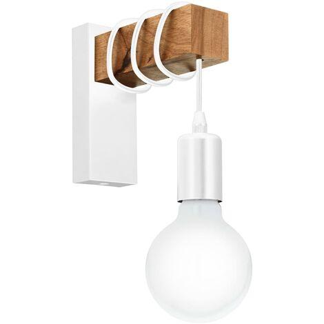 EGLO Lámpara de pared LED Townshend madera 1 bombilla blanco y beige