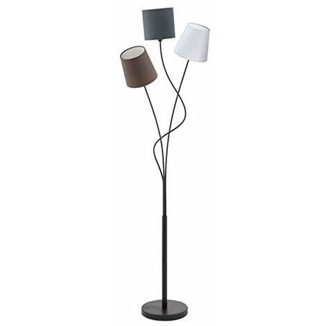 """main image of """"Eglo MARONDA, Lampada da terra, lampada a stelo a 3 punti luce, lampada da terra in acciaio e tessuto, colore: nero, antracite, bianco, marrone, attacco: E14, incl. interruttore a pedale"""""""