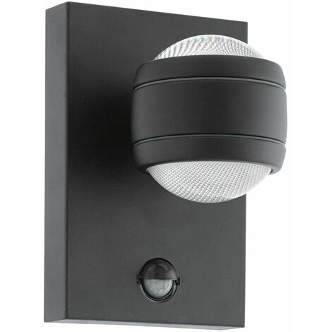 EGLO Modern Exterior Outdoor Wall Light Ip44 Aluminium Sensor Pir Dusk Till Lamp