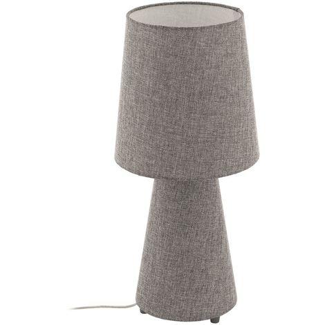 EGLO Modern Style Linen Base Bedside Lounge Table Lamp Fabric Grey Lamp Shade