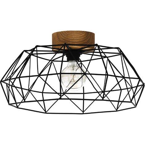 """main image of """"EGLO PADSTOW Geometric flush ceiling light with wood accent"""""""