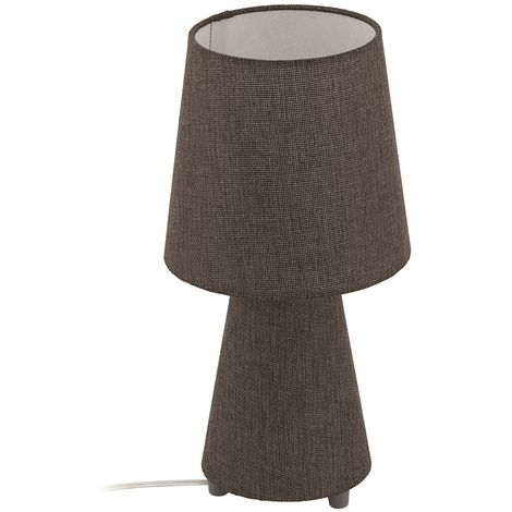 EGLO Round Bedside Table Lamp On/Off Switch With Fabric Lamp Shade