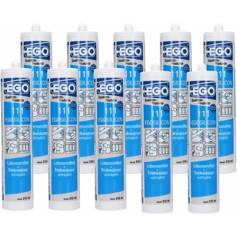 EGOSILICON 111 Lebensmittel & Trinkwasser Silikon, transparent 310ml 10 Stück