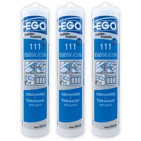 EGOSILICON 111 Lebensmittel & Trinkwasser Silikon, transparent 310ml 3 Stück