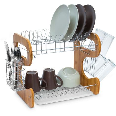 Égouttoir à vaisselle 2 étages en bambou Porte-couverts Bac de récupération crochets pour tasses et assiettes en métal HxlxP: 35 x 51 x 26,5 cm, nature