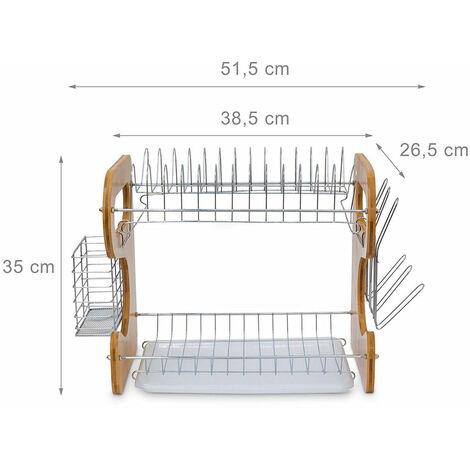 Égouttoir à vaisselle 2 étages métal et bambou avec bac 51 cm