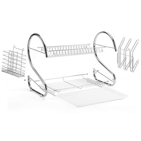 Égouttoir à vaisselle 2 étages Porte-couverts Bac de récupération crochets pour tasses et assiettes en métal